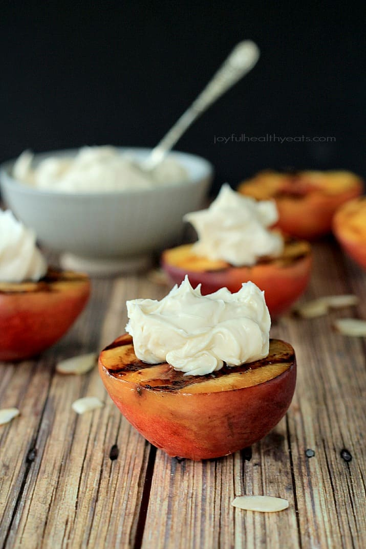 Grilled Peaches topped with with Maple Honey Mascarpone Cheese