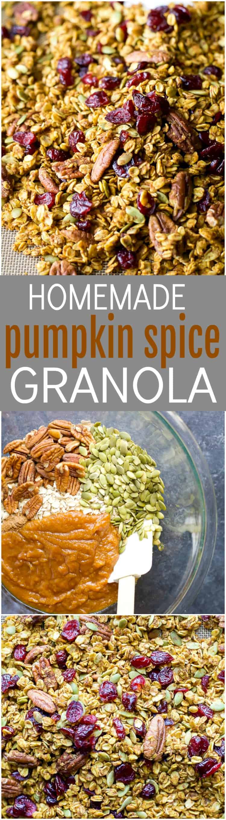 An easy healthy and Homemade Pumpkin Spice Granola Recipe you'll want to indulge on year round! All your favorite fall flavors in one granola recipe - pumpkin, allspice, nutmeg, cloves, cinnamon ... its fall in a bite! Only 190 calories a serving!