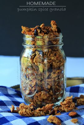 A jar of pumpkin spice granola