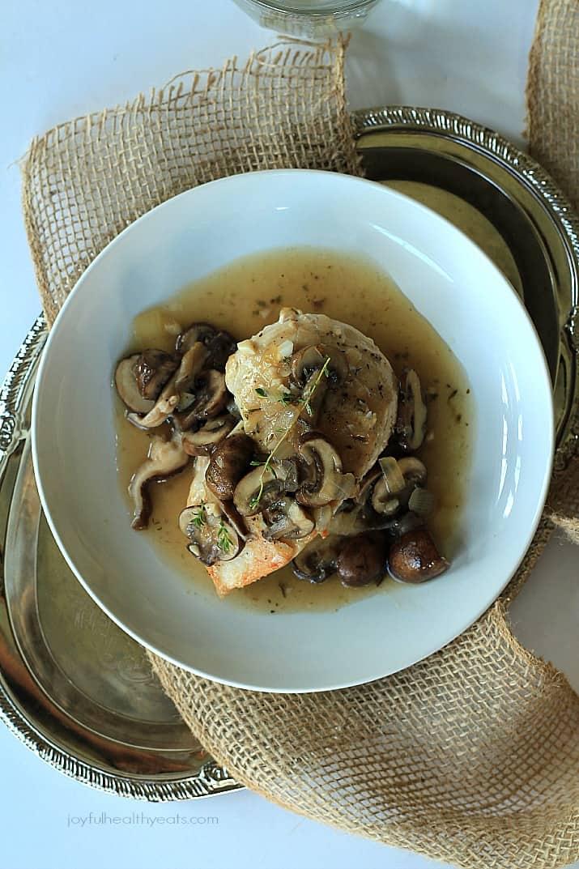 Pan Seared Chicken with a Wild Mushroom Thyme Sauce, one word... amazingness! | www.joyfulhealthyeats.com #paleo #glutenfree