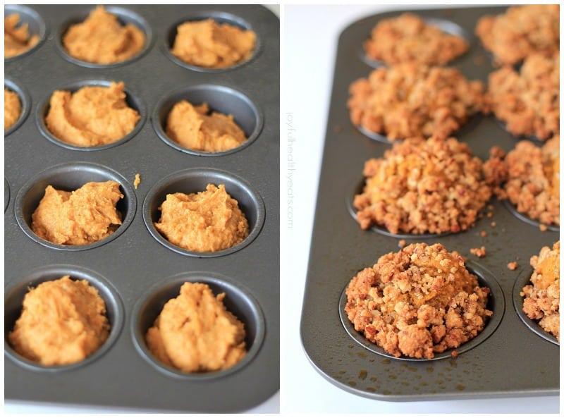 My new favorite on the go breakfast, Pumpkin Muffins with Cinnamon Pecan Streusel | www.joyfulhealthyeats.com #fallrecipes #pumpkin