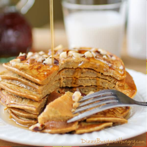 A Stack of Six Pumpkin Apple Butter Pancakes on a Plate