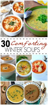 A Collage of Seven Different Winter Soups