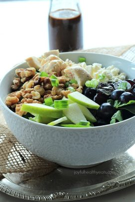 Image of a Chicken Feta Walnut Grape Salad with Honey Balsamic Vinaigrette