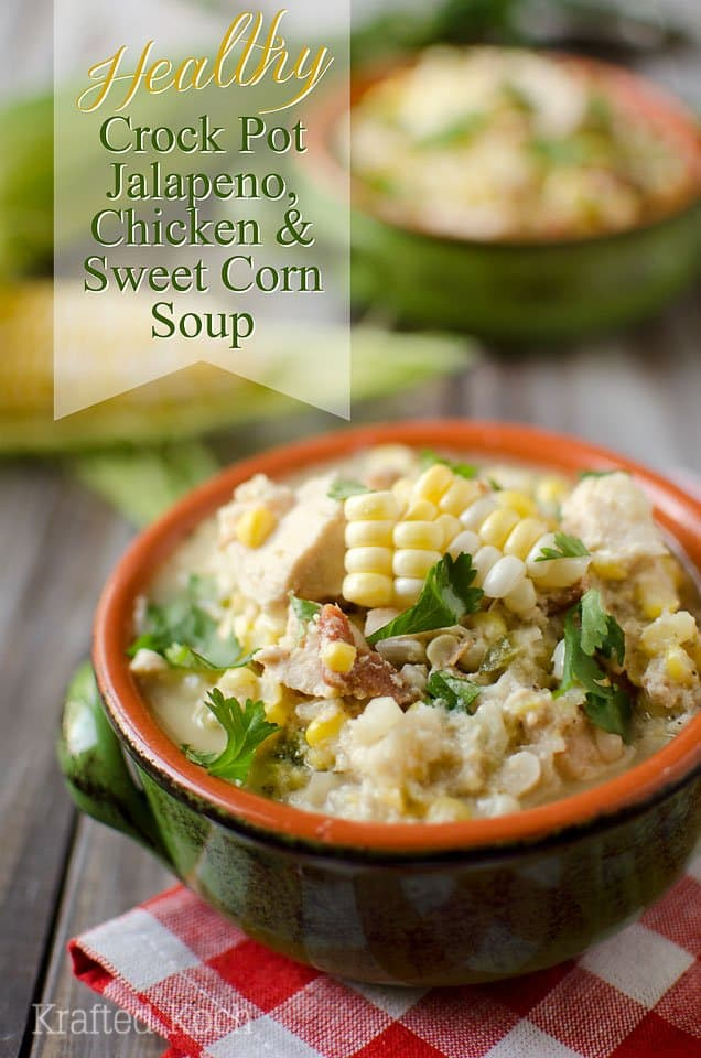 Chicken, Jalapeno and Sweet Corn Soup in a Green and Orange Mug