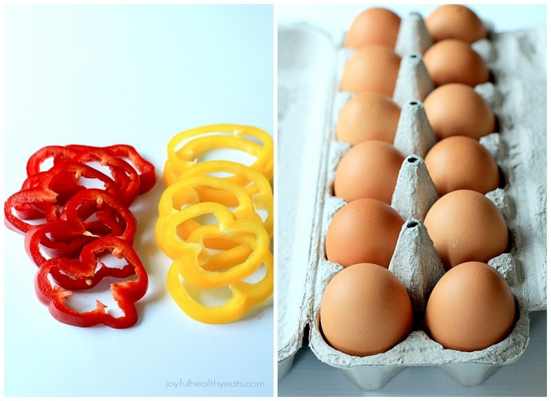 Collage of bell pepper rings and a dozen eggs