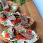 Grilled Ribeye & Roasted Pepper Bruschetta with Whipped Goat Cheese