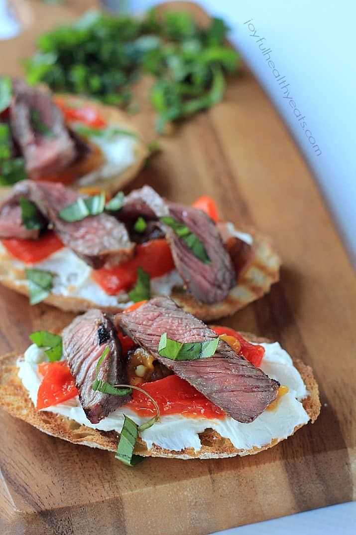 Grilled Ribeye & Roasted Pepper Bruschetta with Whipped Goat Cheese on crostini