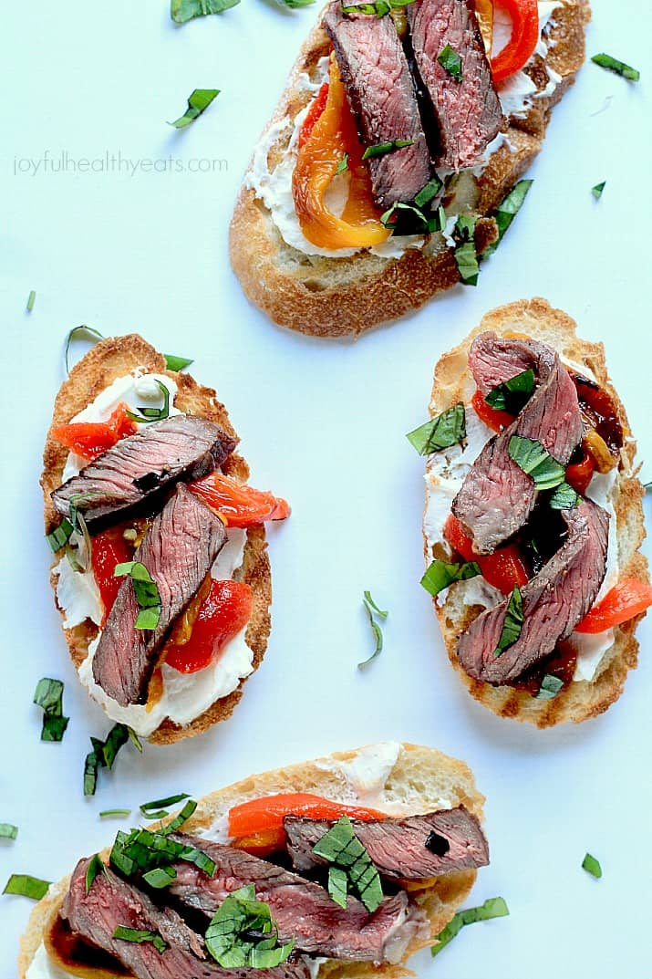 Grilled Ribeye & Roasted Pepper Bruschetta with Whipped Goat Cheese, the ultimate mouth watering appetizer! | www.joyfulhealthyeats.com