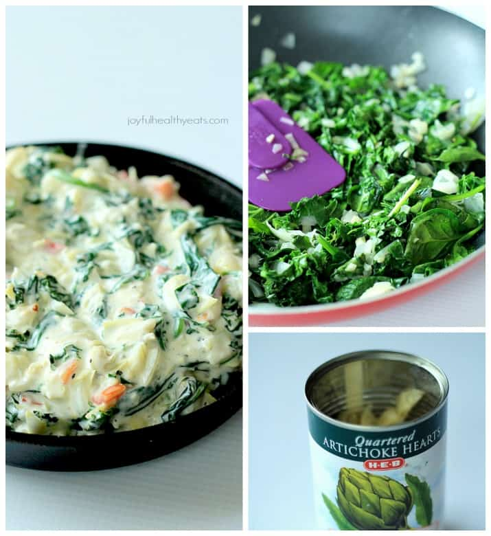A Creamy Kale Spinach Artichoke Dip, your new go-to appetizer. | www.joyfulhealthyeats.com | #gamedayfood #vegetarian #starter