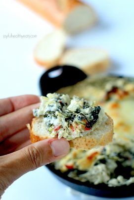 Image of Easy Kale & Spinach Artichoke Dip on Bread