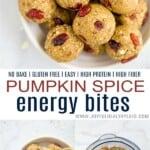 pinterest image for no bake pumpkin spice energy balls