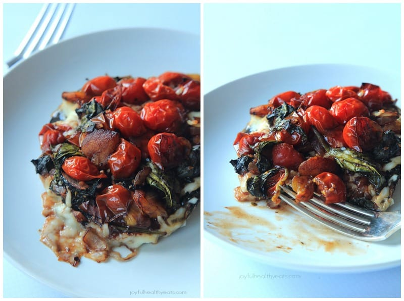 Portobello Mushroom Pizza with Sautéed Balsamic Vegetables, crazy good & healthy! | www.joyfulhealthyeats.com #vegetarian #glutenfree