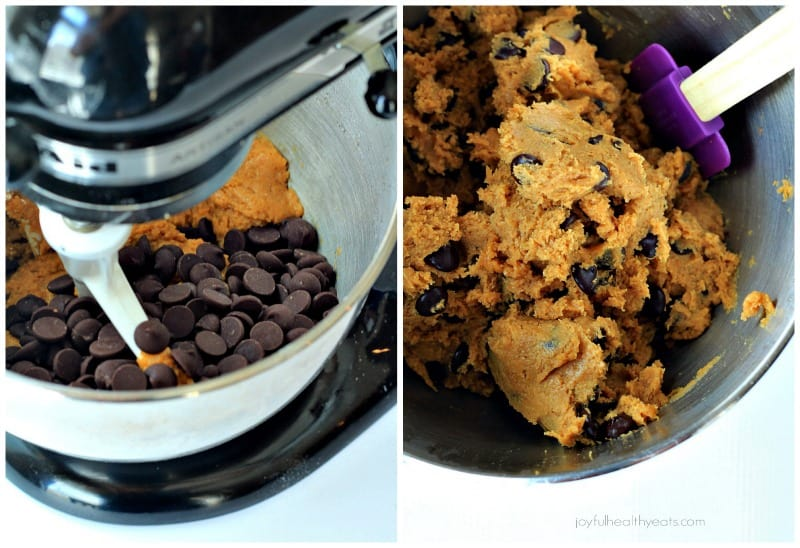 {Skinny} Pumpkin Chocolate Chip Cookies, made with coconut oil... super moist! | www.joyfulhealthyeats.com #fall #pumpkin #dessert