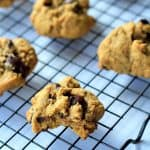 Six Pumpkin Chocolate Chip Cookies on a Cooling Rack