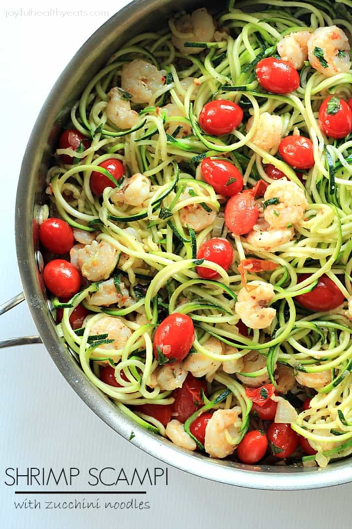 Shrimp scampi with zucchini noodles healthy never tasted so good with this shrimp scampi zucchini noodles made in less forumfinder Choice Image