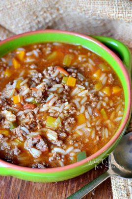 Stuffed Peppers Soup in a bowl