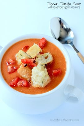Tuscan Tomato Soup in a bowl topped with rosemary garlic croutons