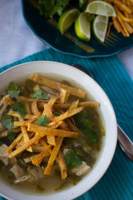 Skinny Chicken Poblano Soup in a bowl