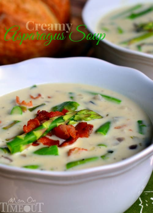 A Bowl of Creamy Asparagus Soup in Front of a Second Bowl