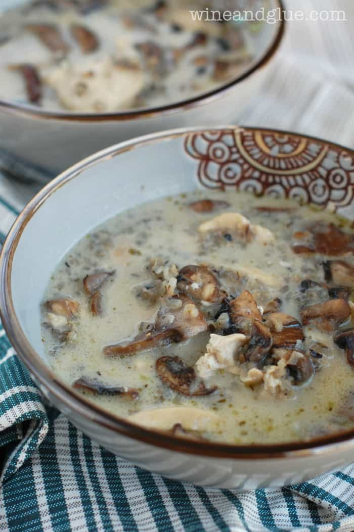 Mushroom and Wild Rice Soup in a Fancy Bowl