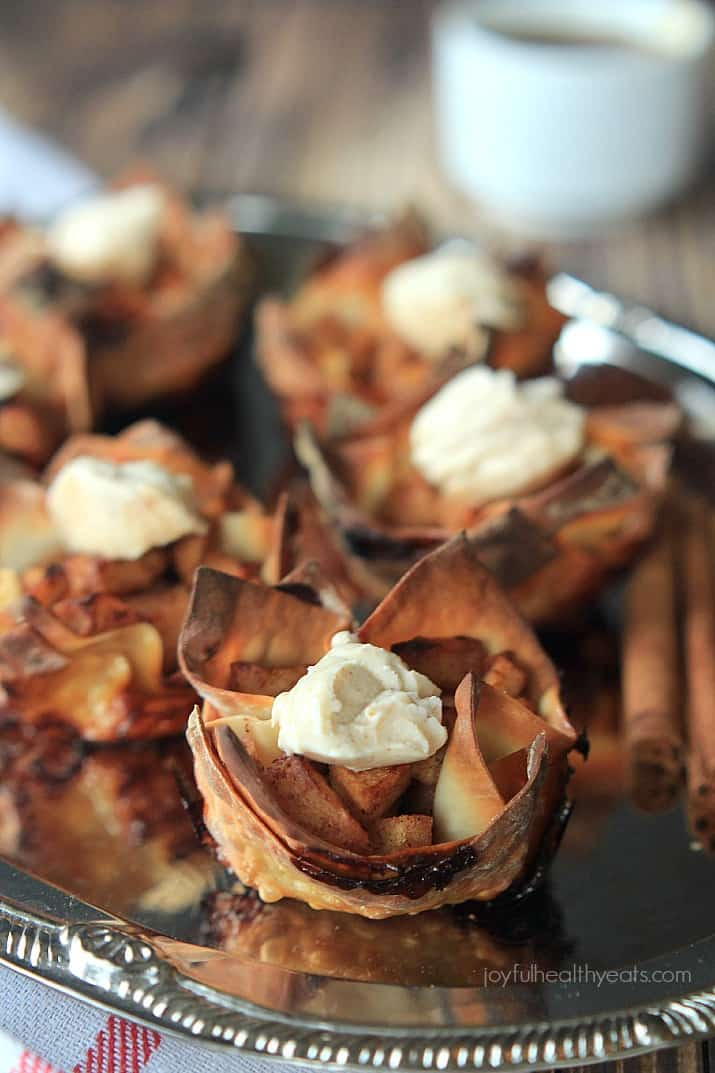 Try to stop at just one of these Caramel Apple Pie Wonton Cups with a Honey Cinnamon Mascarpone, good luck! | www.joyfulhealthyeats.com