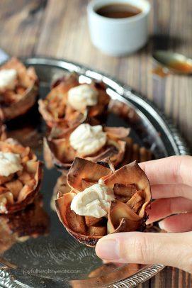 Image of Caramel Apple Pie Wonton Cups
