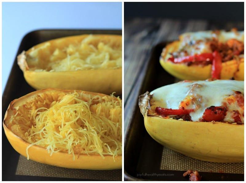 An easy healthy spanish inspired weeknight dinner, Chorizo Kale & Pepper Stuffed Spaghetti Squash Boats! | www.joyfulhealthyeats.com
