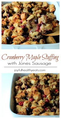 Two Images of Cranberry Maple Stuffing with Jones Sausage