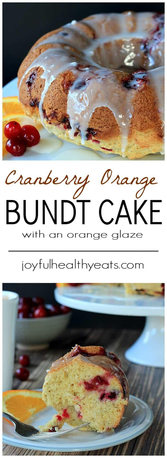 A fresh tart Cranberry Orange Bundt Cake topped with a sweet Orange Glaze! Its the perfect dessert recipe for the holidays. | www.joyfulhealthyeats.com