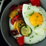 Creamy Goat Cheese Grits and Eggs with Roasted Vegetables-5