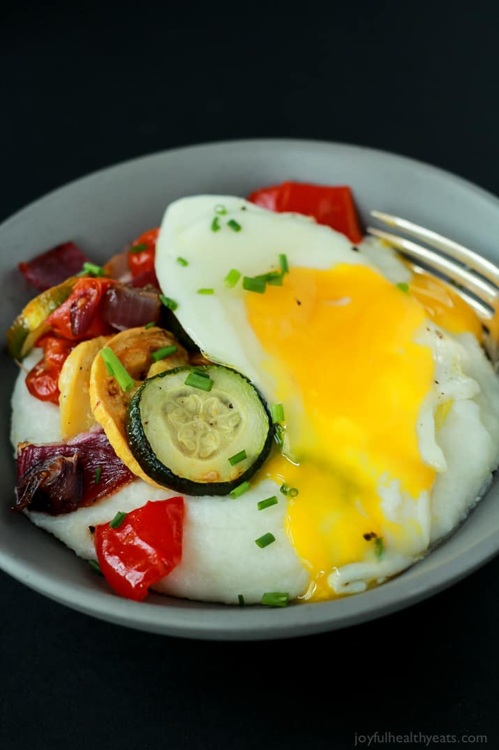 Creamy Goat Cheese Grits and Eggs with Roasted Vegetables