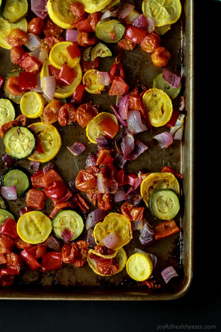 Roasted Vegetables Spread Out on a Baking Sheet