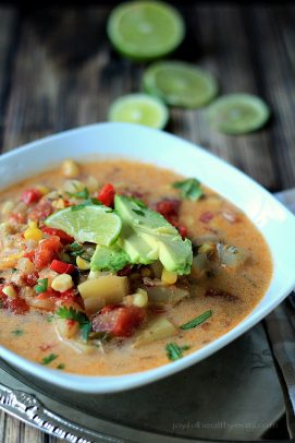 I'm not ashamed that I licked the bowl on this one! Crock Pot Southwestern Corn & Potato Chowder | www.joyfulhealthyeats.com #dairyfree