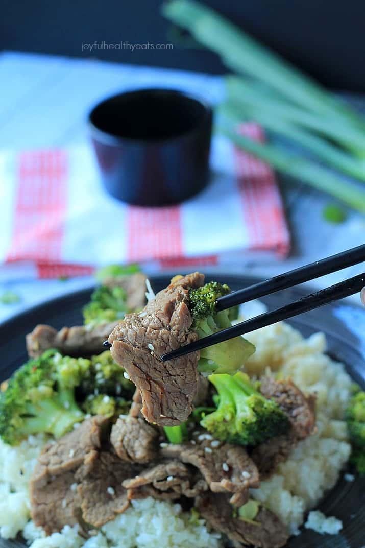 An easy to make Paleo & Gluten Free recipe packed with flavor! Beef & Broccoli Stir fry with Cauliflower Rice   www.joyfulhealthyeats.com