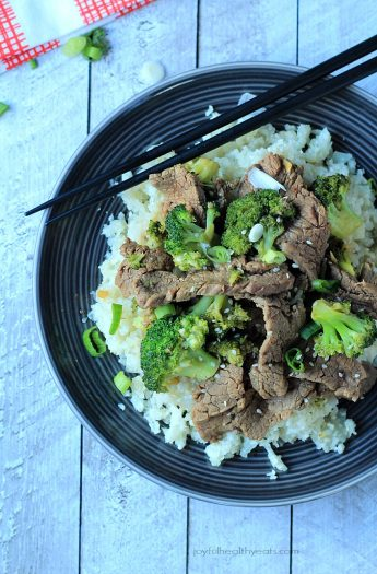 An easy to make Paleo & Gluten Free recipe packed with flavor! Beef & Broccoli Stir fry with Cauliflower Rice | www.joyfulhealthyeats.com