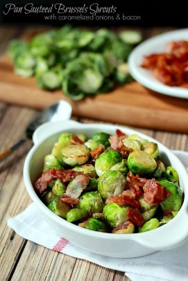 A Crock of Sauteed Brussels Sprouts with Caramelized Onions & Bacon on Top