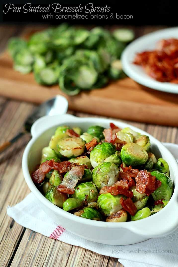 Pan Sauteed Brussels Sprouts with sweet Caramelized Onions and salty crispy Bacon, the ultimate holiday side dish recipe!   www.joyfulhealthyeats.com #ALDIholiday #paleo #glutenfree