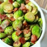 Image of Pan Sauteed Brussels Sprouts with Caramelized Onions & Bacon