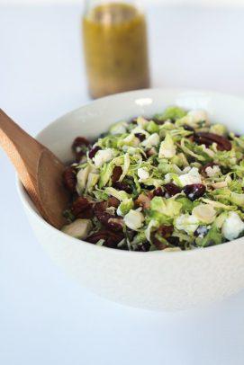 Shaved Brussels Sprouts Harvest Salad with Hard Apple Cider Vinaigrette