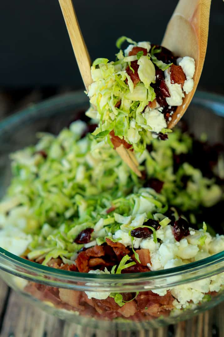 You need this Salad in your life & on the table! Shaved Brussels Sprouts Harvest Salad with Hard Apple Cider Vinaigrette | www.joyfulhealthyeats.com #thanksgiving #healthy