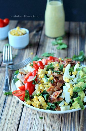 Image of a Southwestern Cobb Salad with Creamy Poblano Dressing