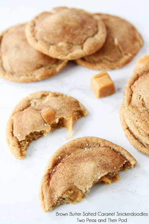 Brown Butter Salted Caramel Snickerdoodles on a White Counter Top