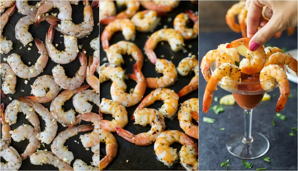 Collage of the process to make Garlic Herb Roasted Shrimp