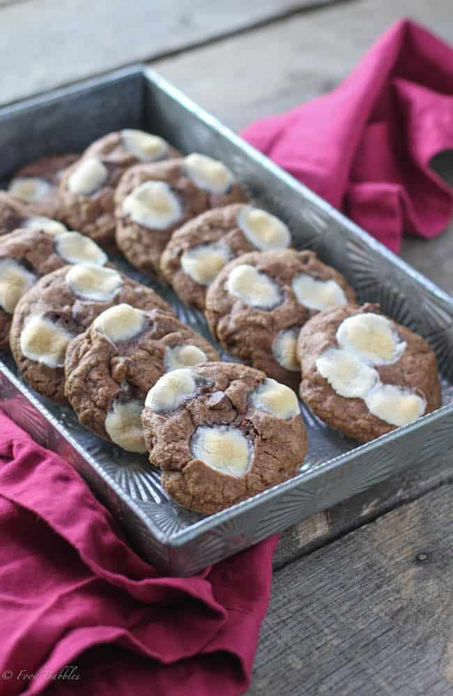 Mississippi Mud Cookies Lined up in a Pan