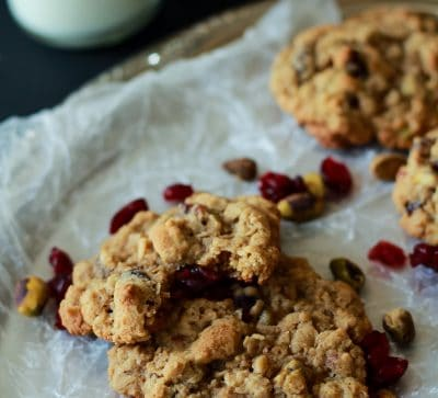 A guilt free cookie for the holidays, Pistachio Cranberry Oatmeal Cookies. Easy to make, healthy, and the flavors are phenomenal. | www.joyfulhealthyeats.com