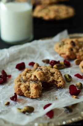 Pistachio Cranberry Oatmeal Cookies-3