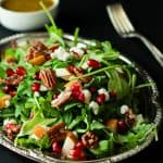 Pomegranate Goat Cheese Candied Pecan Arugula Salad