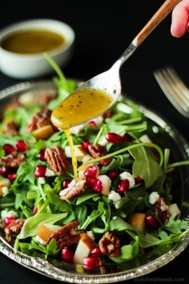Pomegranate Goat Cheese Candied Pecan Arugula Salad-6