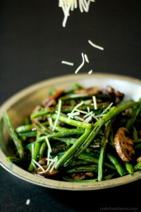 Image of Roasted Green Beans & Mushrooms Sprinkled with Cheese